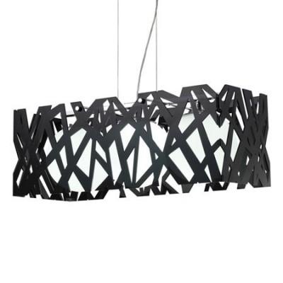 Lámpara techo moderna negra tres luces bola cristal blanco