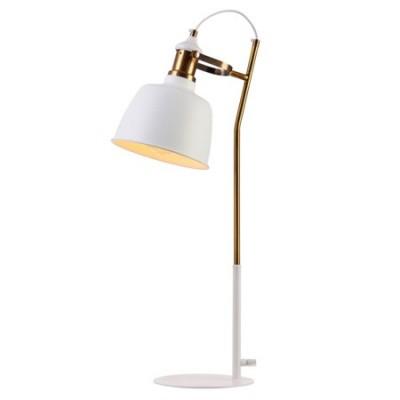 Lámpara de mesa retro blanco oro en metal tipo flexo