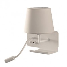 Aplique Hold metal blanco pantalla textil con lector LED, USB y estante