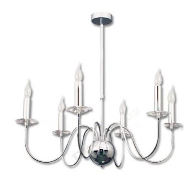 Lámpara moderna elegante vela cromo detalles cristales
