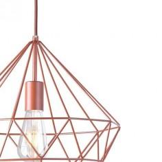Lámpara de colgar geométrica estilo vintage en metal oro rosa