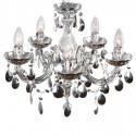 Lámpara de araña cinco luces metal y acrílico cromado
