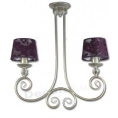 Lámpara dos luces lila y oro reflejos plata