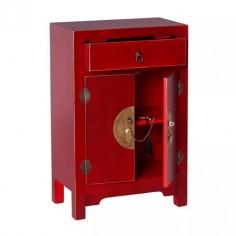 Mesita de noche Oriente roja madera dos puertas y un cajón detalles oro