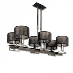 Lámpara moderna con pantallas de tela negra y seis luces