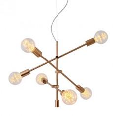 Lámpara moderna de techo metal cobre con seis luces