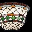 Lámpara aplique Tiffany cristales crema, verde, ocre y marrón