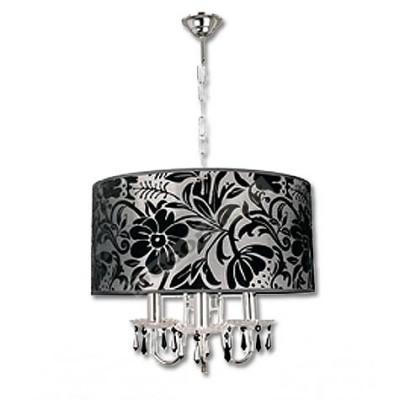 Lámpara moderna pantalla negro cromo cuatro luces