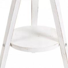 Sobremesa trípode madera blanco rozado pantalla textil