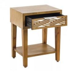 Mesa noche madera natural un cajón cristal espejo y un estante