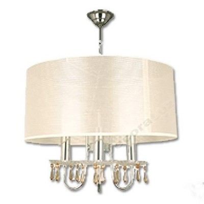 Lámpara moderna tres luces cromo pantalla color crema