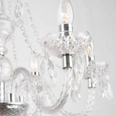 Lámpara chandelier seis luces acrílico transparente