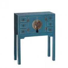 Consola Oriente azul dos puertas seis cajones detalles oro