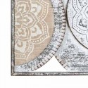 Mural decoración pared Círculos mandalas metal rozado blanco y madera