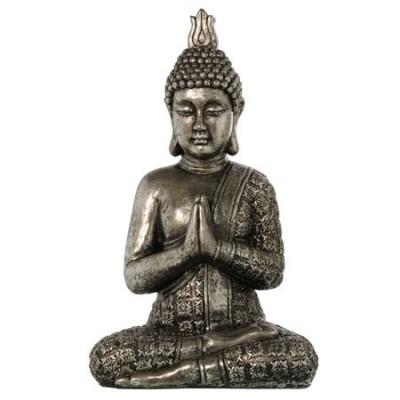 Buda decoración oriental sentado en plata envejecida
