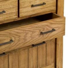 Cómoda Ohio madera natural dos cajones dos puertas estantes interiores