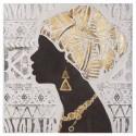 Lienzo étnico pintura Africana marrón, dorado y beige con cenefa
