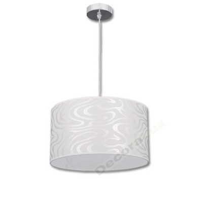 Lámpara colgante moderno color blanco detalles plateado