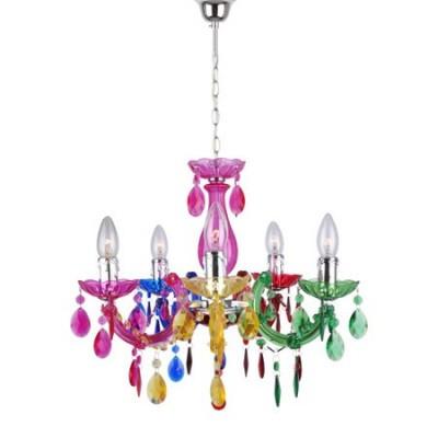 multicolor lágrimas cinco luces Chandelier colgantes con OwP8k0n