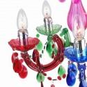 Chandelier multicolor cinco luces con lágrimas colgantes