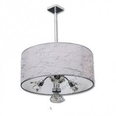 Lámpara moderna cromo tres luces cristal pantalla textura