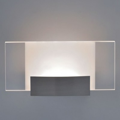 Lámpara pared LED níquel satinado y metacrilato transparente y opal