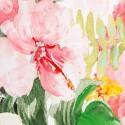 Pintura Flamencos en lienzo tonos rosa, blanco, verde y amarillo