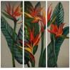Tríptico lienzos decorativos de Flores y hojas en verde, rojo y amarillo