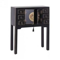 Consola en color negro 2 puertas 6 cajones