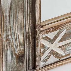 Espejo colección Bali tallado en madera natural