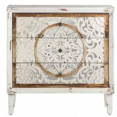 Cómoda 3 cajones colección calcuta color blanco y madera natural