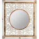 Espejo colección calcuta con fondo en madera tallada marrón y blanco roto