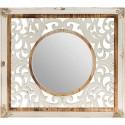 Espejo colección calcuta con fondo en madera tallada color marrón natural y blanco roto