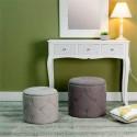 Conjunto de puff tapizado en capitone color gris