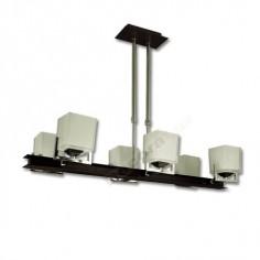 Lámpara moderno color marrón cromo cristales opacos.