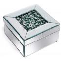 Caja de cristal con purpurina verde