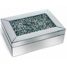 caja decorativa en espejo con purpurina verde
