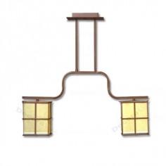 Lámpara estilo moderno dos luces tonos marrones.