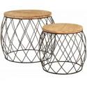 Set mesas en madera natural con estructura metalica