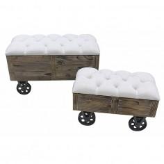 Set banquetas en madera con ruedas