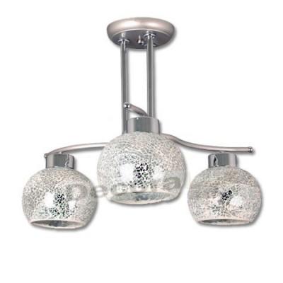 Lámpara color cromo bolas cerámica detalles cristal