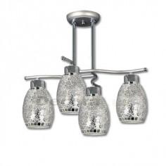 Lámpara cerámica bolas detalles cromo cristal moderna.