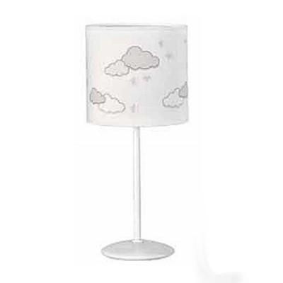 Lampara de mesa infantil con nubes en tonos neutros