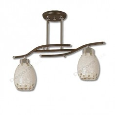 Lámpara dos luces cristales ovalados detalles mosaico