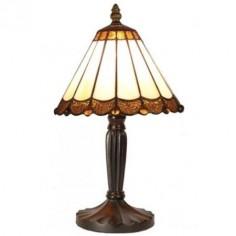 Lámpara de mesa Tiffany cristales en crema y marrón