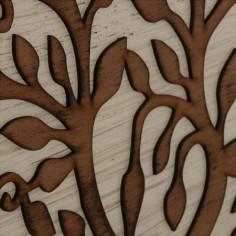 Cuadros decorativos madera dos tonos Árboles tallados efecto rozado