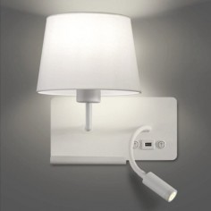 Aplique Hold metal blanco pantalla textil con lector LED, USB y estante- izquierda