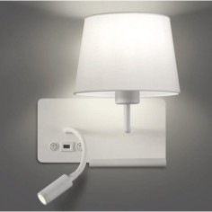 Aplique Hold metal blanco pantalla textil con lector LED, USB y estante-derecha
