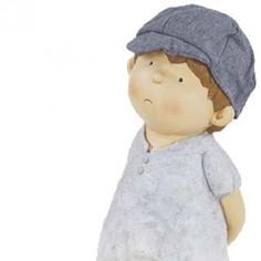 Figura decorativa niño pensativo en tonos azules