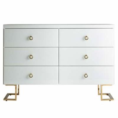 Taquillón blanco 6 cajones con detalles dorados colección white fussion